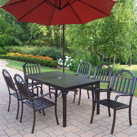 Wrought Iron Patio Dining Set Shop Oakland Living 7 Piece Slat Wrought Iron Patio Dining