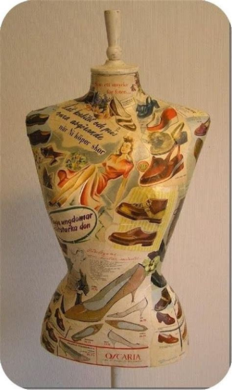 Decoupage Mannequin - dress form decoupage and vintage on