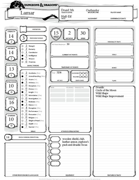 dungeons and dragons ability card template thing the pros and cons of a 5th level druid