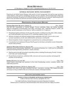Resume Sles For Hospitality Management Hotel Management Resume Templates