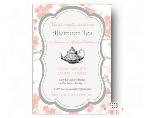free printable invitations afternoon tea birthday tea party invitation tea party birthday invitation