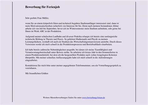 Bewerbungsanschreiben Ferienjob Daimler Bewerbung F 252 R Ferienjob Muster Und Tipps