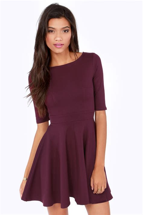 Ghaida Simple Choker Dress Maroon burgundy dress skater dress dress with sleeves