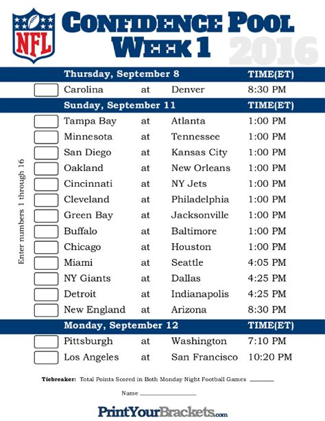 printable nfl schedule office pool printable team schedule office pool html autos post