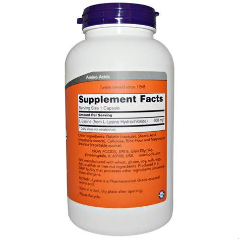 supplement l lysine now foods l lysine 500 mg 250 capsules iherb