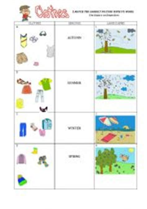 clothes for different seasons worksheet english worksheets clothes and seasons