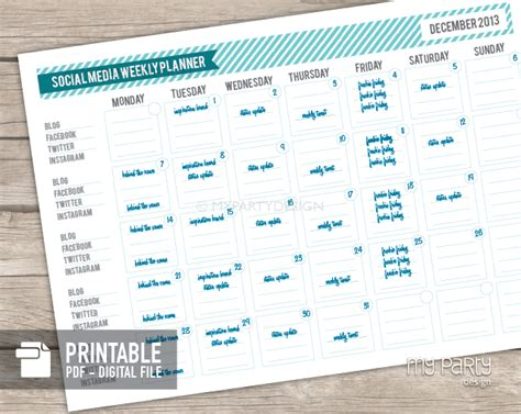 social media planner social media planner printable pdf my party design
