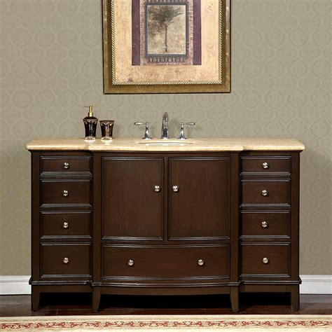 Bathroom Vanity Cabinets With Tops 60 Inch Travertine Counter Top Bathroom Single Sink Vanity Cabinet 0237tr Ebay