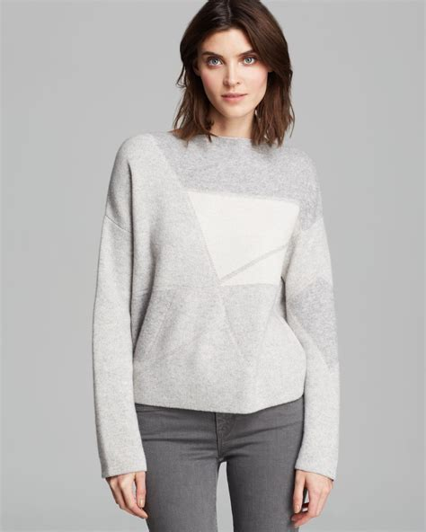 Abstrack Sweater vince sweater abstract jacquard in gray h steel winter white lyst