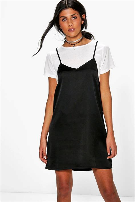 Boohoo Womens Lucy 2 in 1 T Shirt With Satin Slip Dress eBay