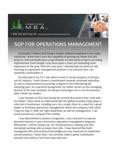 Operations Position Before Mba by Sop For Operations Management Exle