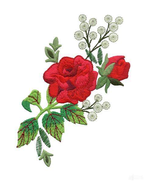 embroidery design rose flower red rose group 3 embroidery design
