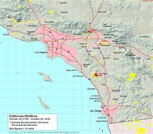 animated map of california wildfires october 2003