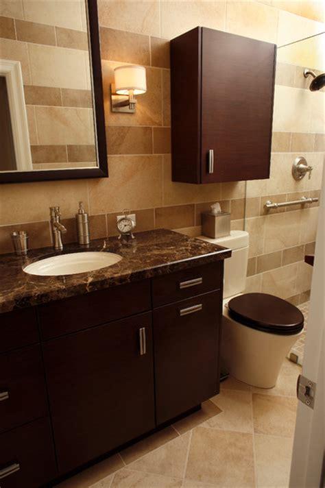 pasadena ca condo remodel modern bathroom orange