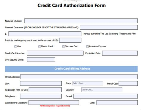 Sle Credit Card Form Html Credit Card Authorization Form 6 Free
