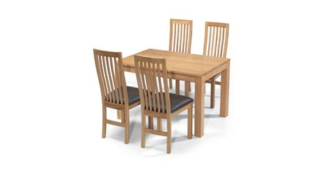 Dining Table 4 Chairs Cuba Oak 160 Cm Dining Table And 4 Chairs Lifestyle Furniture Uk