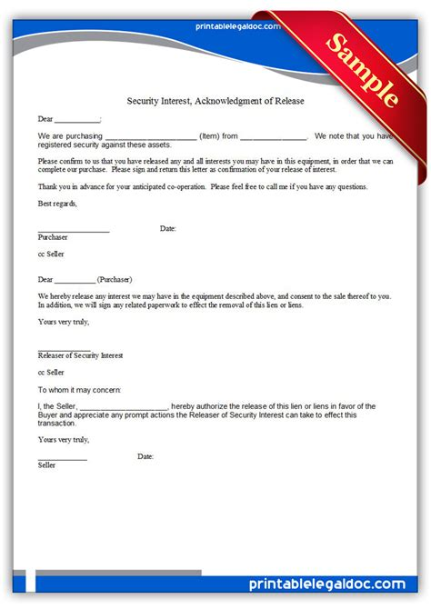 Release Of Interest Letter Free Printable Security Interest Acknowledgment Of Release Form Generic