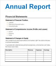 annual financial statement template annual financial report template how to make an annual