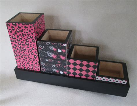 Pink Desk Organizer Pink And Black Desk Organizer Desk Set Pencil Cup By Msw2011