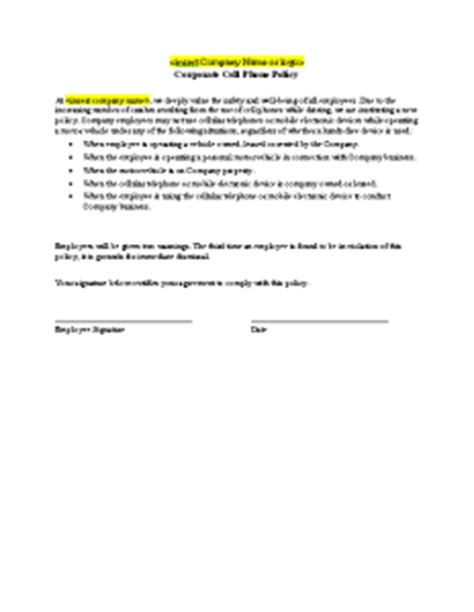 cell phone policy free printable documents