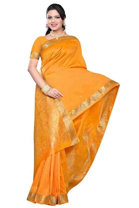pumpkin benares silk sari saree bellydance fabric india indian selections