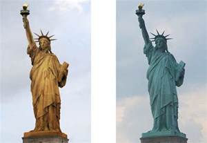 the statue of liberty before it was green