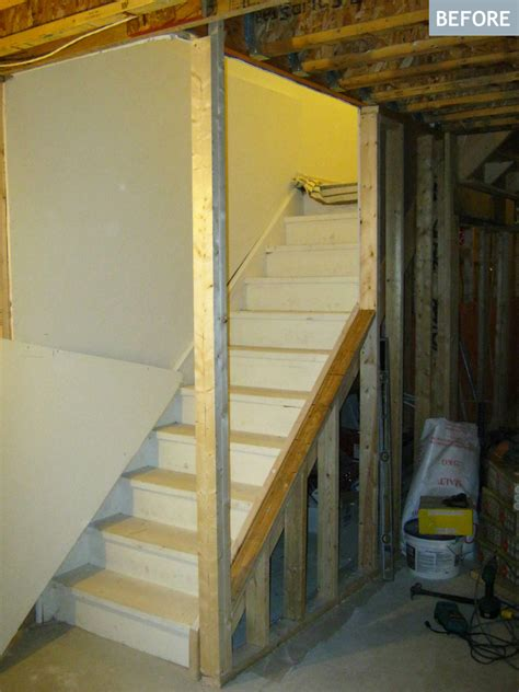 open staircase to basement am dolce vita basement