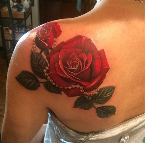 back rose tattoo awesome on left back shoulder by