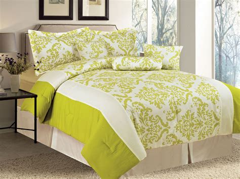 Yellow Damask Comforter 7 pc microfiber damask motif striped comforter set green yellow lime