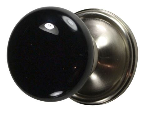 Door Knobs Black by Black Porcelain Door Knob Brushed Nickel Plate