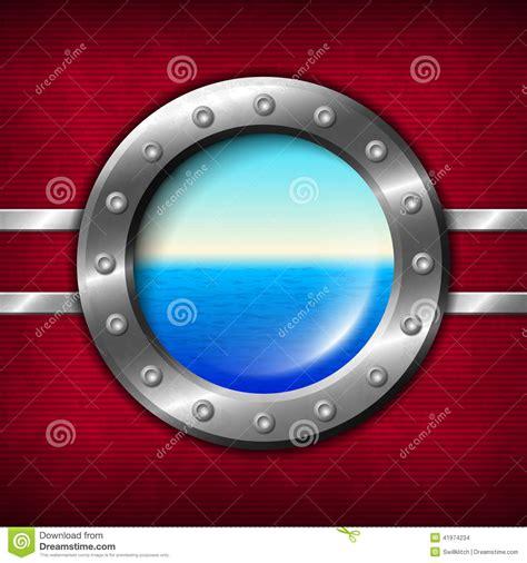 dessin bateau avec hublot hublot de bateau avec le paysage marin illustration de