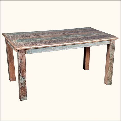 rustic reclaimed wood distressed kitchen dining table