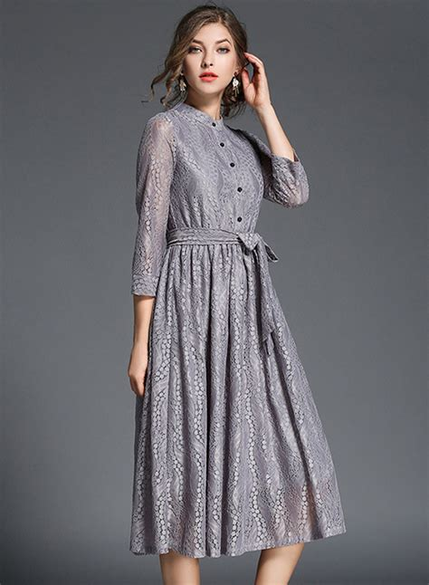 3 4 Sleeve Lace Dress 3 4 sleeve lace midi dress with belt azbro