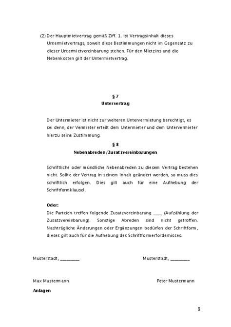 Muster Mietvertrag Gewerbe untermietvertrag gewerblich