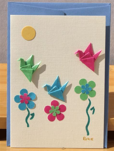 Greetings card Handmade Three Origami Crane in summer garden