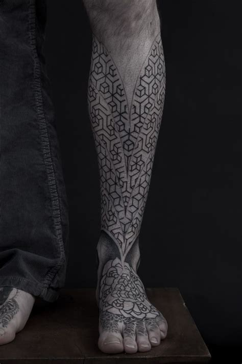 geometric leg tattoos geometric pattern