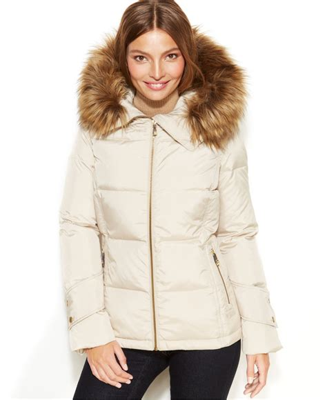 Calvin Klein Hooded Faux Fur Trim Quilted Puffer Coat by Calvin Klein Faux Fur Trim Hooded Jacket In