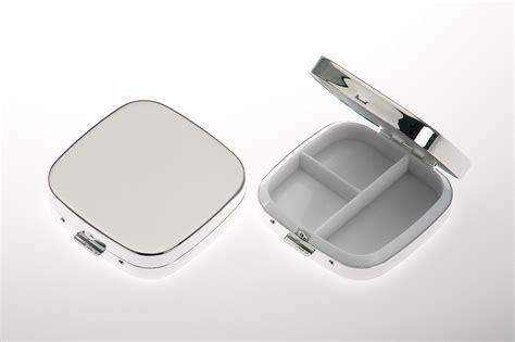 Silber Glatt Polieren by Pillendose 3 Geteilt Quadratisch Glatt Poliert Versilbert