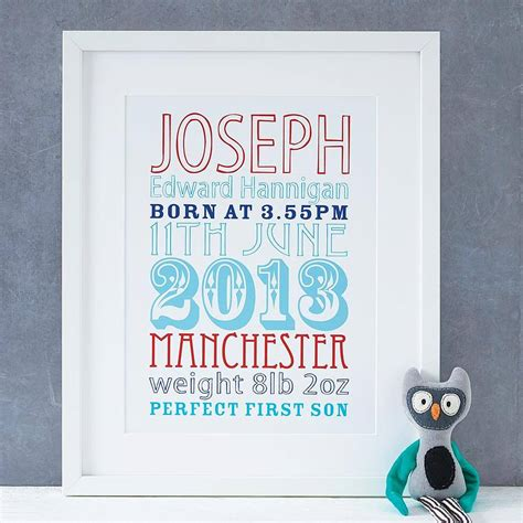 printable baby poster personalised new baby birth date print by modo creative
