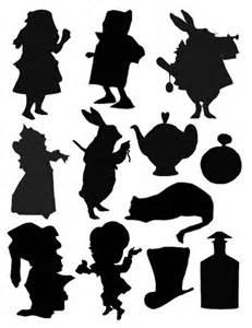 Alice in wonderland silhouettes digital collage sheet