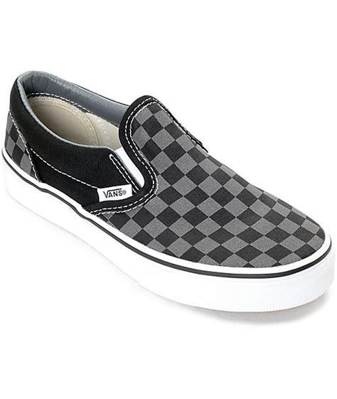 vans slip on black pewter checkered boys skate shoes