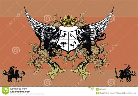 heraldic symbol lion with wings cartoon vector
