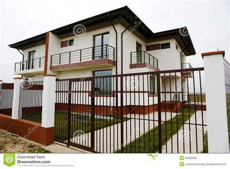 house with fence houses with big fence stock photo image 50269058