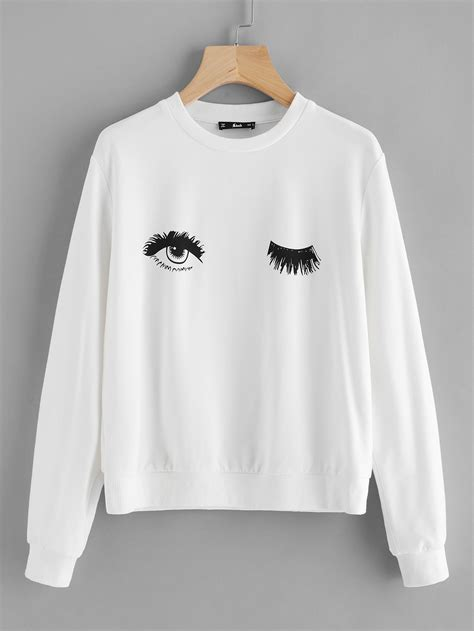 Sweatshirt Print wink eye print sweatshirt shein sheinside