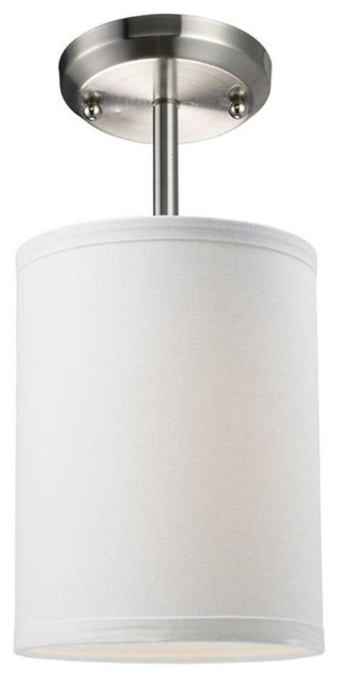 Linen Flush Mount Ceiling Light by One Light Brushed Nickel White Linen Shade Drum Shade Semi