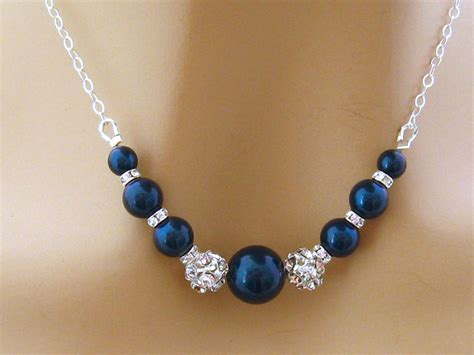 Blue Neckles blue pearl necklace pearl rhinestone bridal necklace blue