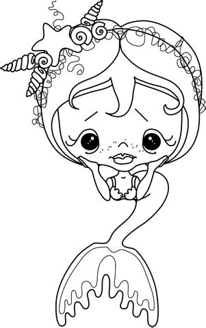 Lil Dot Pirate Cap Fish sad mermaid coloring page free printable