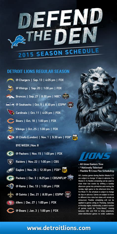 printable nfl monday night football schedule 2015 detroit lions 2015 schedule released