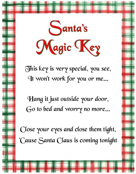 printable santa key template santa s magic key poem christmas pinterest