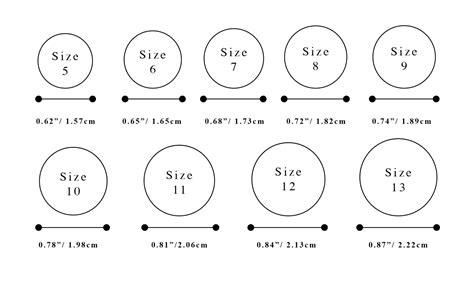 ring size chart  women men printable